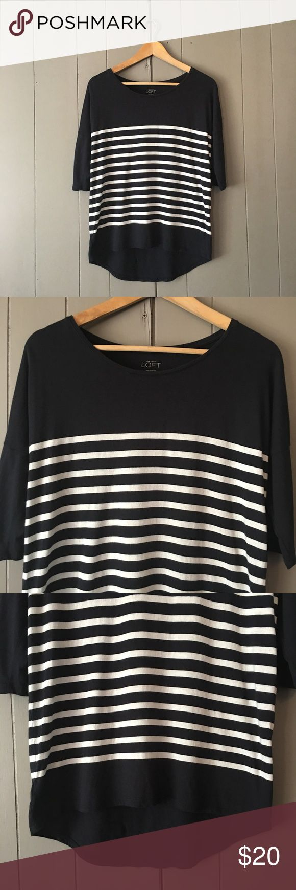 "Ann Taylor Loft Navy & White Striped Boat Neck Top Adorable 1/2 sleeve, high-low shirt in good condition! Armpit to armpit is 20"". Length is 23"" in the front and 27"" in the back. Offers are welcome. ☺️ LOFT Tops"