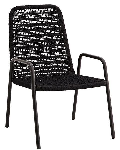 Madam Stoltz Zwarte touwstoel - relax