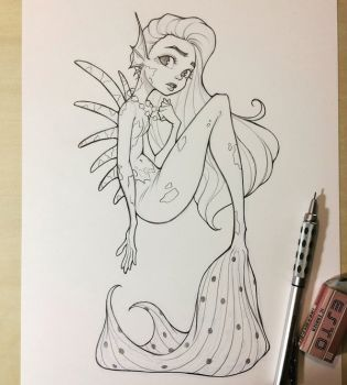 Mermaid Sketch by chrissie-zullo