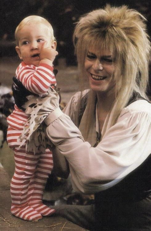 1986 - Toby and David Bowie as Jareth in Labyrinth (backstage photo).