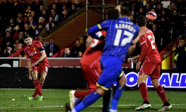 AFC Wimbledon 1-2 Liverpool: Steven Gerrard's free kick beats the Wimbledon wall to deny an FA Cup 3rd. round  upset on January 5th. 2015.