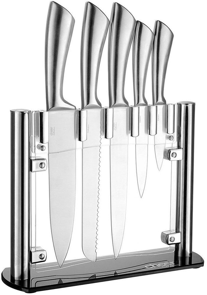 Kitchen Knife Set 6Piece With Block Stainless Steel Cutlery Professional Chef #KitchenKnife #KnifeSet #KitchenKnifeSet #6PieceSet #6PieceKnifeSet #KnifeSetWith Block #StainlessSteelKnife #CutlerySet #ProfessionalCuttingTools #ProfessionalChefTools #RustResistant #SlicingDicingCuttingTool