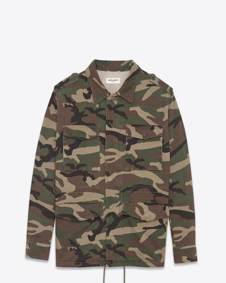 Saint Laurent Veste Militaire «LOVE» En Coton à Imprimé Camouflage Vintage | YSL.com