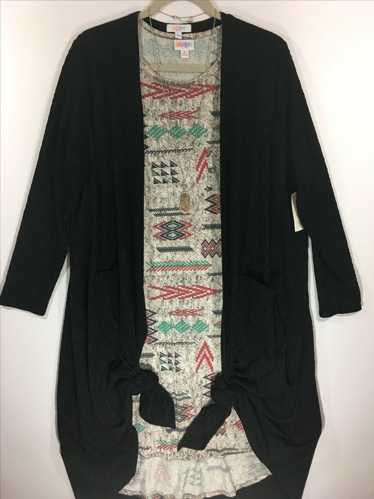 Aztec print, solid black sweater cardigan, swing dress, Fall Outfit idea, winter outfit, simply comfortable. Outfit available at shop lauraellison.com