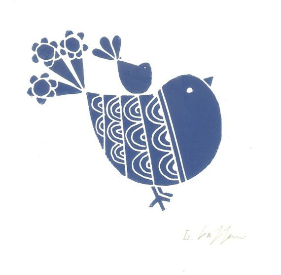 Blue Robin and Baby Bird Print - Linocut Modern Gift  - Deep Blue Art, Original Print Signed
