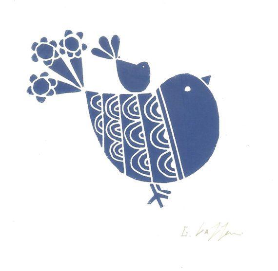 Blue Robin and Baby Bird Print - Linocut Modern Gift  - Deep Blue Art, Original Print Signed