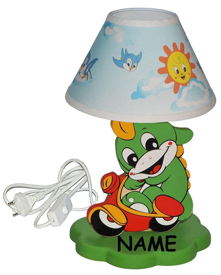 Der Spielzeugtester hat das Tischlampe aus Holz – Dinosaurier / Krokodil / Dra…