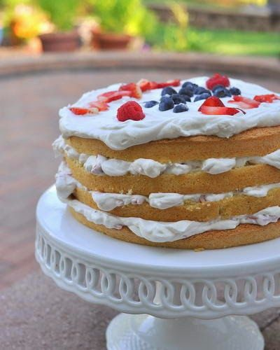 Finnish Strawberry Whipped Cream Cake, layers of sponge cake, fluffy whipped cream and strawberries, a real celebration cake ~ Weight Watchers PointsPlus 8 @ KitchenParade.com