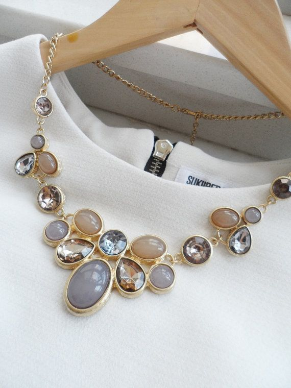 Champagne and Grey Jeweled Crystal Statement by AnneEmmaJewelry