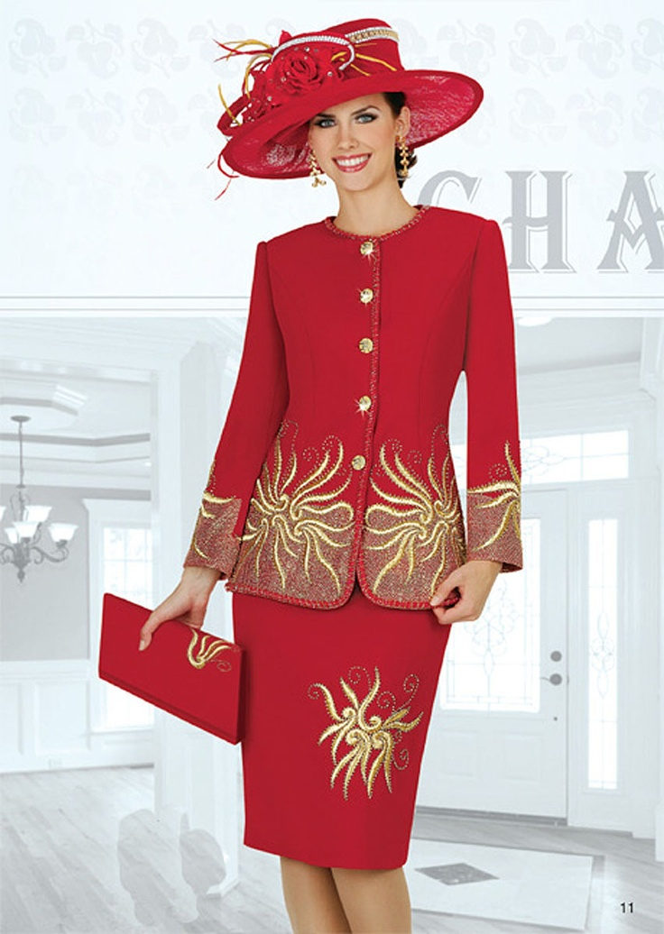 Champagne Italy 3728 Black or Red Womens Church Dress Suit