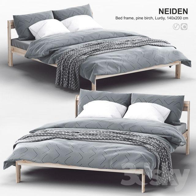 3d Models Bed Ikea Neiden Bed Frame Pine Birch Luroy In 2020