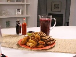 Smoky and Spicy Oven-Fried Chicken from Rev Run's Sunday Suppers. Served with Waffles and Blackberry Arnold Palmer.