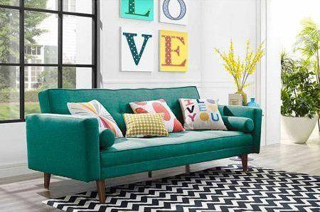 10 Sleeper Sofas Under $500 | 9 by Novogratz linen mix futon, $399 from Walmart.
