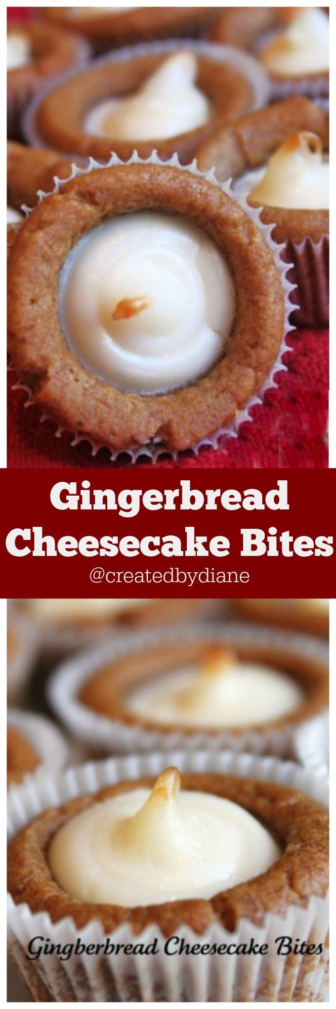 Gingerbread Cheesecake Bites these may look like cupcakes, but they are cookie bites, gingerbread cookie dough filled with a cream cheese filling and baked to perfection these are a must make for the holidays. perfect to bring to work, holiday party etc @createdbydiane