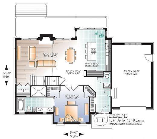 Grande maison offrant vue panoramique et secteur d'activités entièrement ouvert sur l'arrière !   Deuxième étage, vue avant & plans similaires ici :  http://www.dessinsdrummond.com/detail-plan-de-maison/info/1003093.html  #Maison3chambres #FoyerAuSalon #Plandemaison #MaisonStyleCraftsman