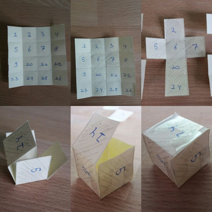 Folding a dice from 16 squares. Easy for kids