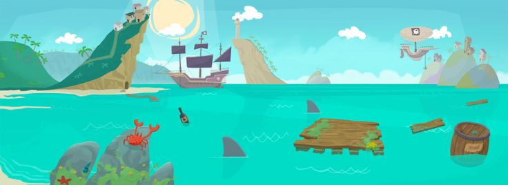 Pirate theme illustration featured on www.merixgames.com