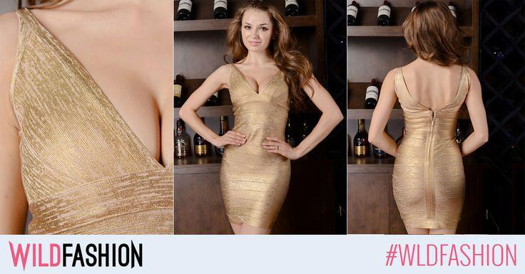 Aceasta rochie aurie este in sine o piesa cu un puternic impact vizual. Poart-o la urmatorul eveniment si fii stralucitoare!