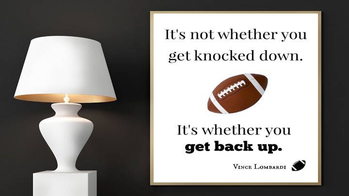 Football Print, It's not whether you get knocked down, It's whether you get back up, Vince Lombardi, Green Bay Packers, Sports Art, Football by EducationalArtPrints on Etsy