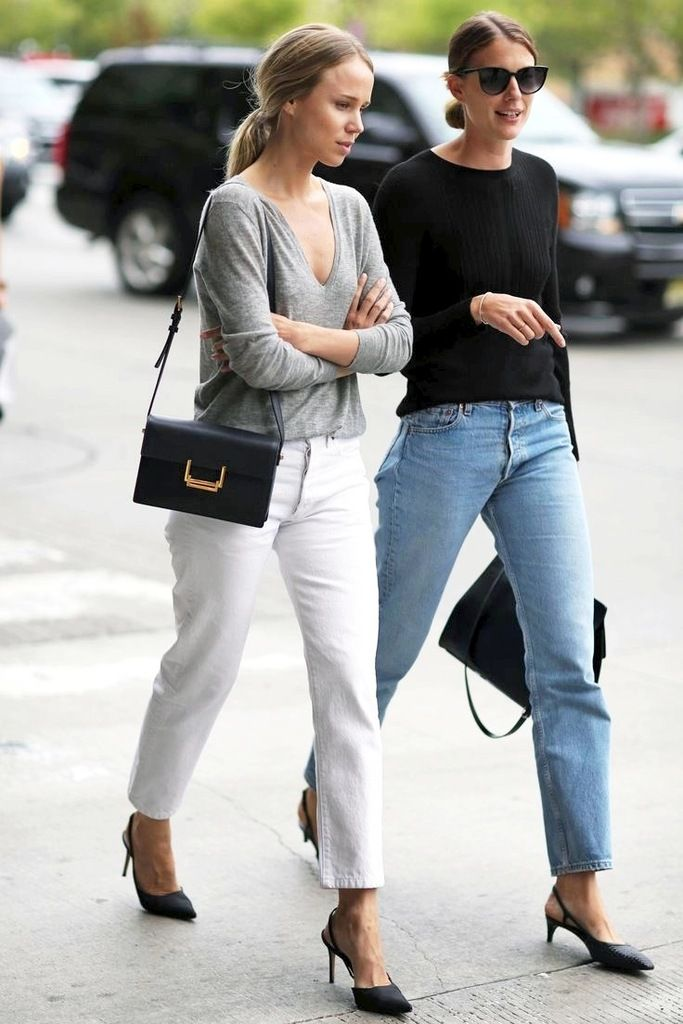 Street Style: Elin Kling And A Friend Go Casual Chic In Denim Looks (Le Fashion)