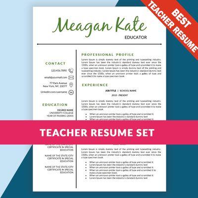 Teacher Resume Template, Teaching Resume / Cover Letter Template, Educator Resume Template Word from AsyiGraphics on TeachersNotebook.com
