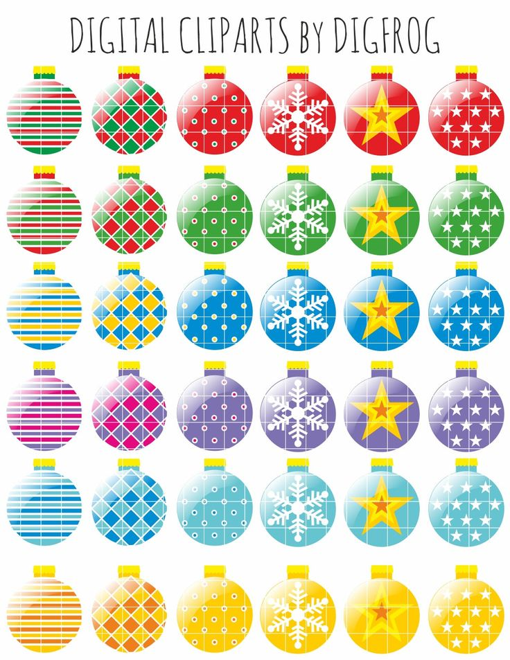 Colourful christmas baubles, christmas tree ornament clip arts, paper crafts, nursery decor, card making, cupcake toppers, scrapbooking by DigiFrog on Etsy