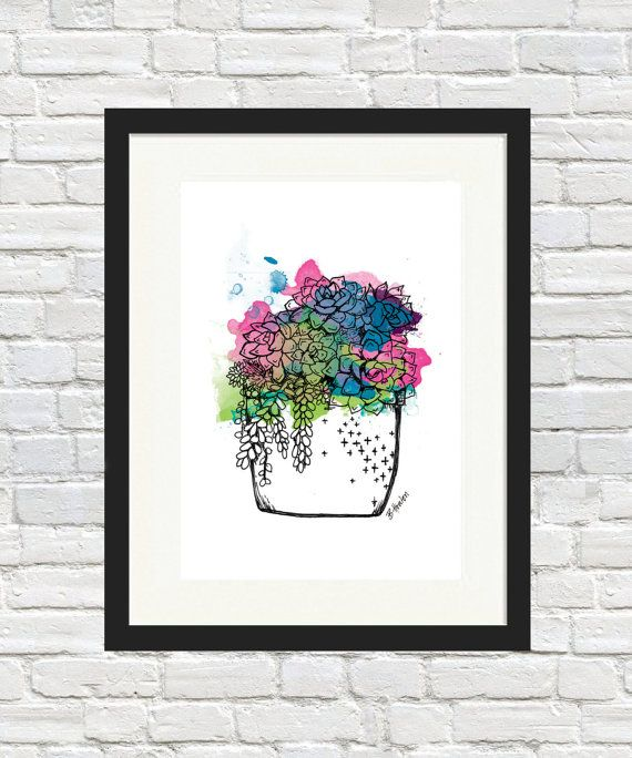 Succulent Pot Colour Print by BronwynHoustonArt on Etsy