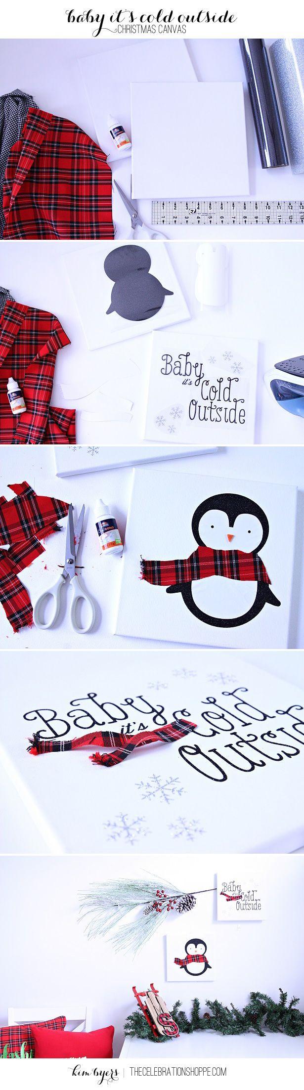 Make Plaid Christmas Crafts - Plaid is trending! Make plaid penguin Christmas crafts for your home this holiday. | Kim Byers