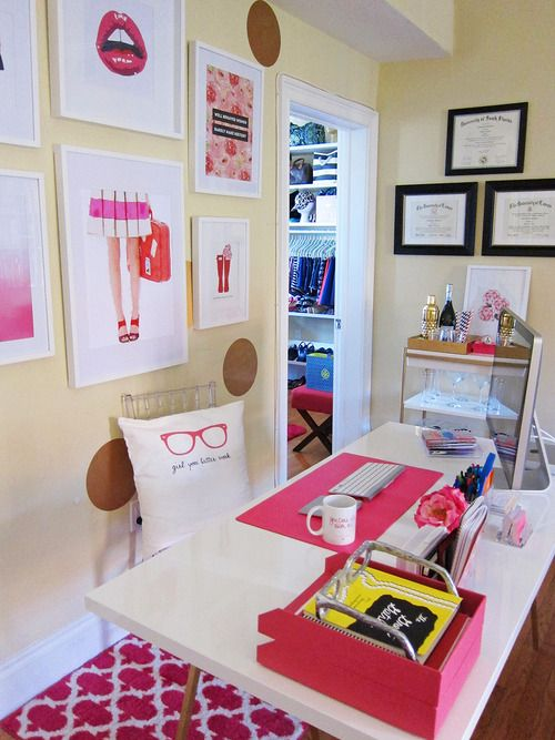 Super girly personal office -- love the decor (and the bar cart next to the desk, ha!)
