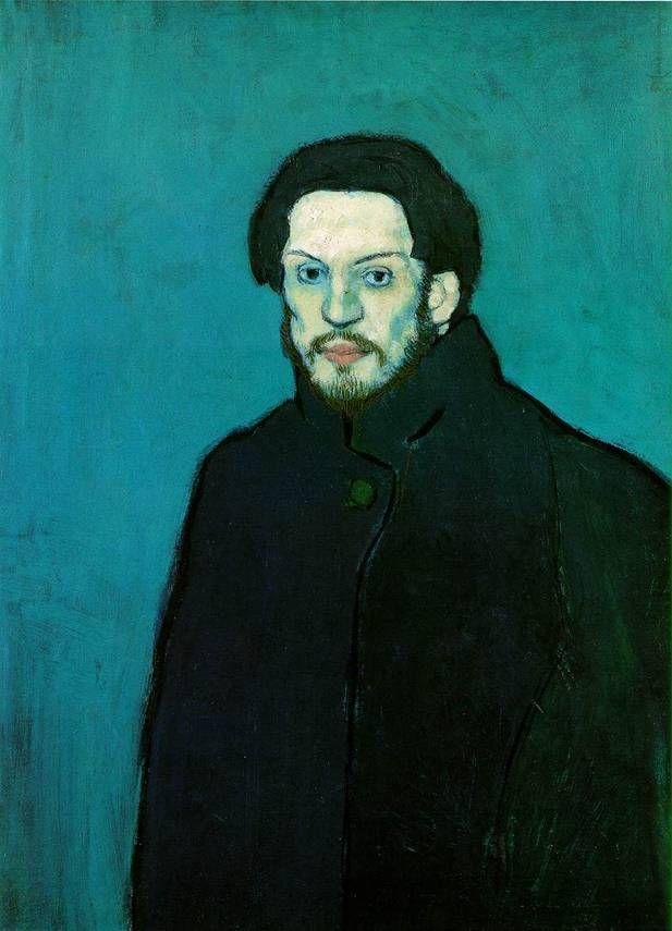 파블로 피카소  Self-Portrait Blue Period 1901   Oil on canvas, 81 x 60 cm   Musee Picasso, Paris       블루 피리어드의 그의 자화상(파리에 있음)이다.  입체파적 그의 그림과는 거리가 있지만 청년 피카소만의 느낌으로 다작하던 시기의 작품이다.  이미 어릴때부터 '라파엘로'의 그림수준에 올랐다는 평이 있을 정도로 천재였기 때문에 완벽한 그림보다 자신의 예술세계를 창조하고자 하는 열망이 담기기 시작한 시기이다.