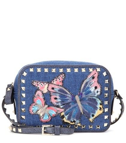 ROCKSTUD EMBELLISHED DENIM SHOULDER BAG VALENTINO