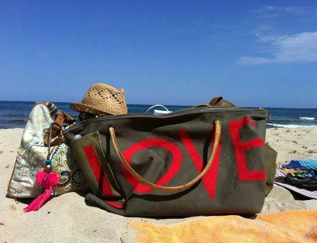 XXL Beach bag 'LOVE' on Ibiza beach