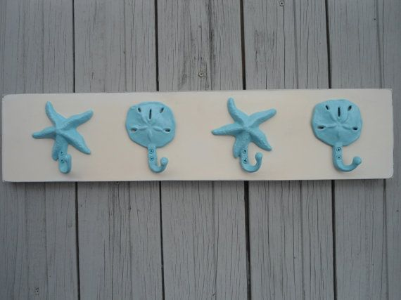 4 hook beach towel rack starfish seahorse sand dollar hooks on distressed whitewashed wood, many colors