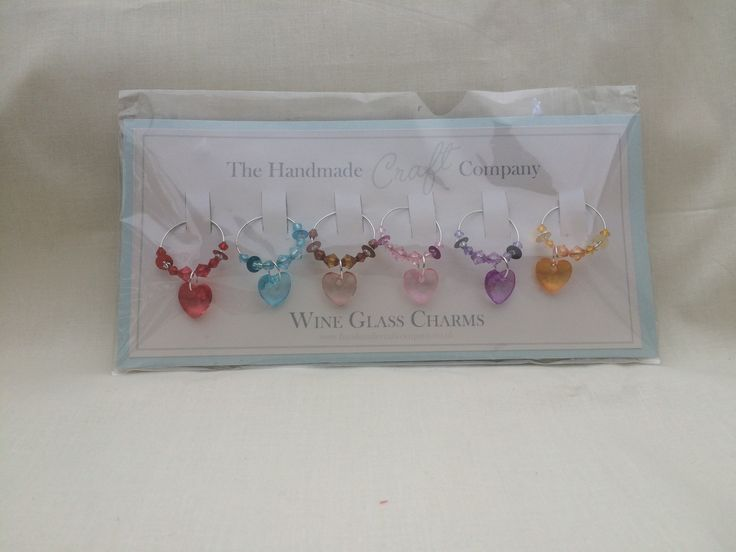 A set of 6 pretty heart charms  to pretify and identify your glass (or mug/cup)