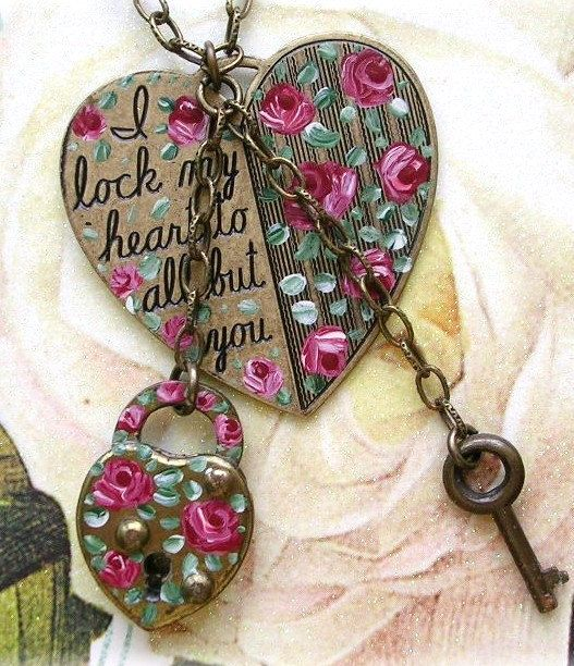 Vintage Padlock and Key Painted Heart Necklace by TheVintageHeart, $38.00    ~I love the romance of this piece- this heart is under lock and key for just the right person ;)