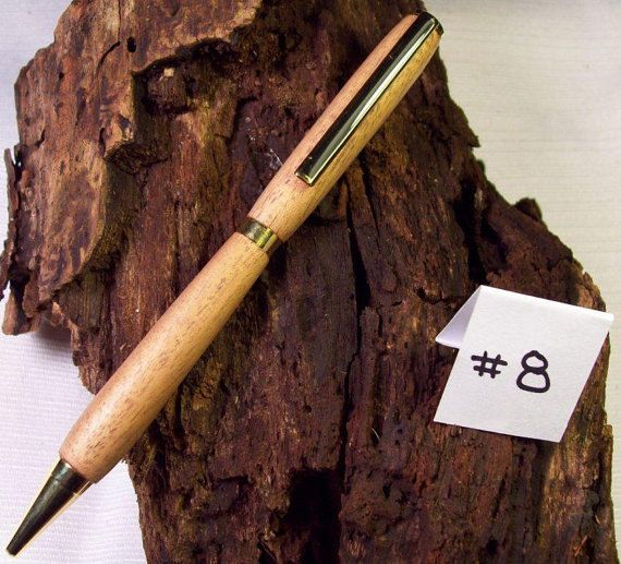 Hand Turned - Spanish Cedar, 24kt gold finish slimline pen #woodbottlestoppers #crotchetedhat