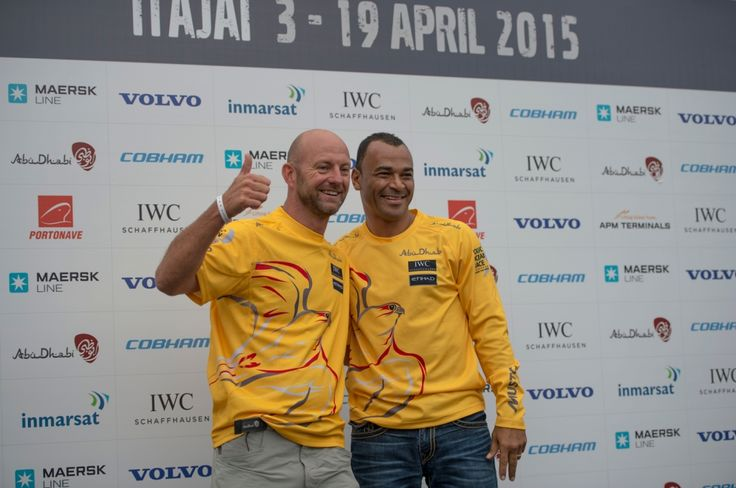 April 18, 2015. Itajai Stopover; Brazilian football player, Cafu, spends In-Port Race day with Abu Dhabi Ocean Racing. Cafu and Ian Walker take to the stage for a public keepy-uppy competition Buda Mendes / Volvo Ocean Race
