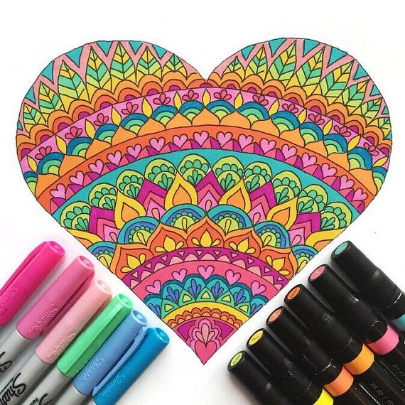 Heart Coloring Page download, Valentine's Day coloring page, adult coloring…