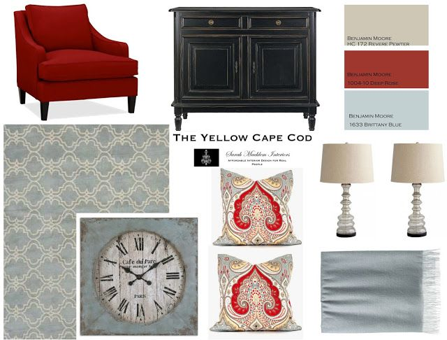 Possibly this color combo for our new living room? The walls are a pinky red  and the rest of the house is in blues.