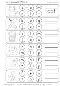 Phonics worksheets on short vowels | cvc worksheets short a, short e, short i, short o, short u    This looks like it is a free worksheet generator - the clip art is not royalty free, though, so no sharing  :(