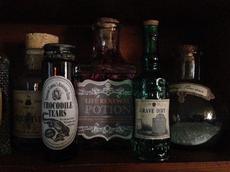diy potion bottles halloween decorations