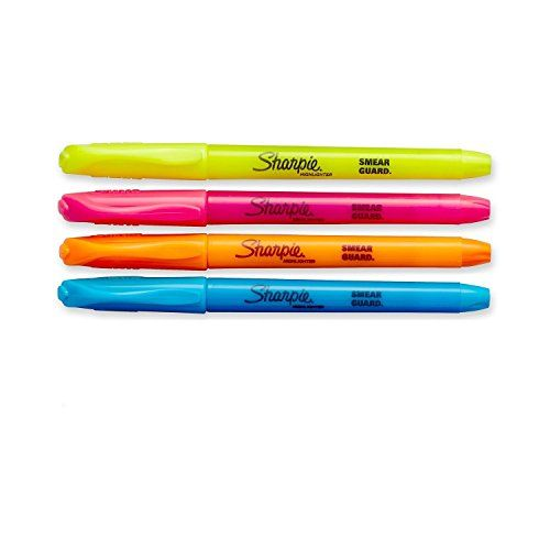 Sharpie Accent Pocket Style Highlighter (36-Pack, Assorted Colors)  36-Pack 9 Yellow, 9 Orange, 9 Pink 9 Blue  Durable chisel tip is great for highlighting or underlining.  Smear Guard ink is formulated to not smear over most inks (let air dry before highlighting). Color won't fade type or bleed through most paper.  5.687 inches long by 1.125 inches wide by 3.125 inches high. 0.3 pounds. Made in the USA.  ** Wholesale packaging**