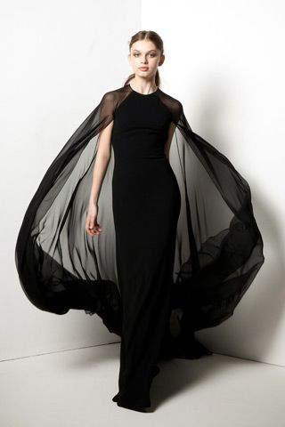 Stunning black Reem Acra gown with flowing sheer Cape...x