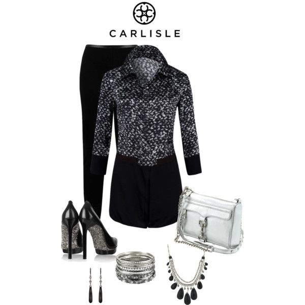 """black and white with a splash of silver"" by cricket5643000 on Polyvore"