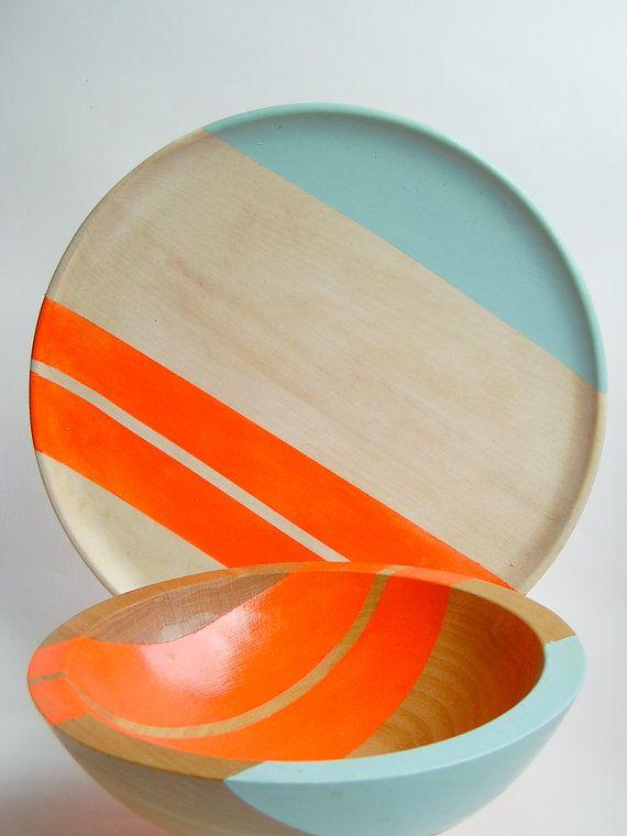 Neon hardwood bowls and plates.