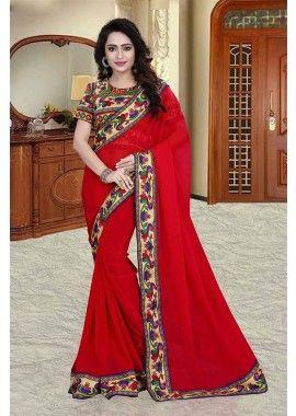 Red 60 GM Georgette Saree, - £58.00, #PartywearSari #DesignerSari #IndianOutfit #Shopkund