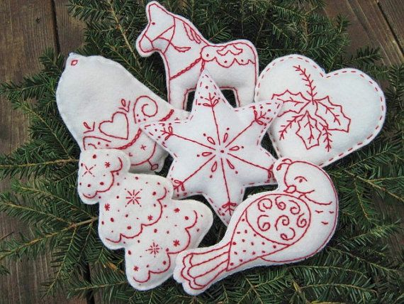 *** These are not available to buy now, but want to make something like this. White felt cut into shapes, embroidered and then sewn and stuffed. ***