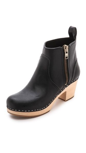 Swedish Hasbeens Zip It Emy Clog Booti