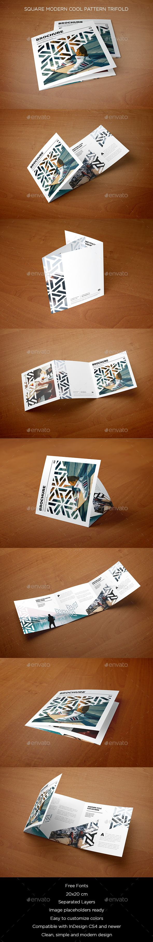 Square Modern Cool Pattern Trifold Brochure Template InDesign INDD. Download here: https://graphicriver.net/item/square-modern-cool-pattern-trifold/17544748?ref=ksioks