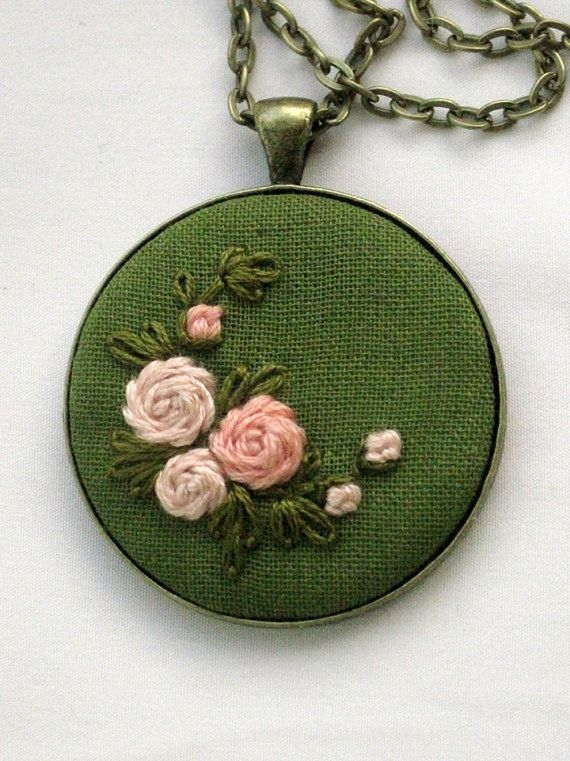 Pink and Green Embroidered Pendant: